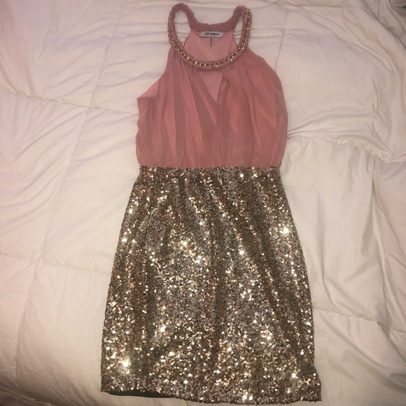 Xtaren Dresses & Skirts - pink gold sequin semi/formal/homecoming/prom dress